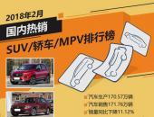 2018年2月国内热销SUV/轿车/MPV排行榜